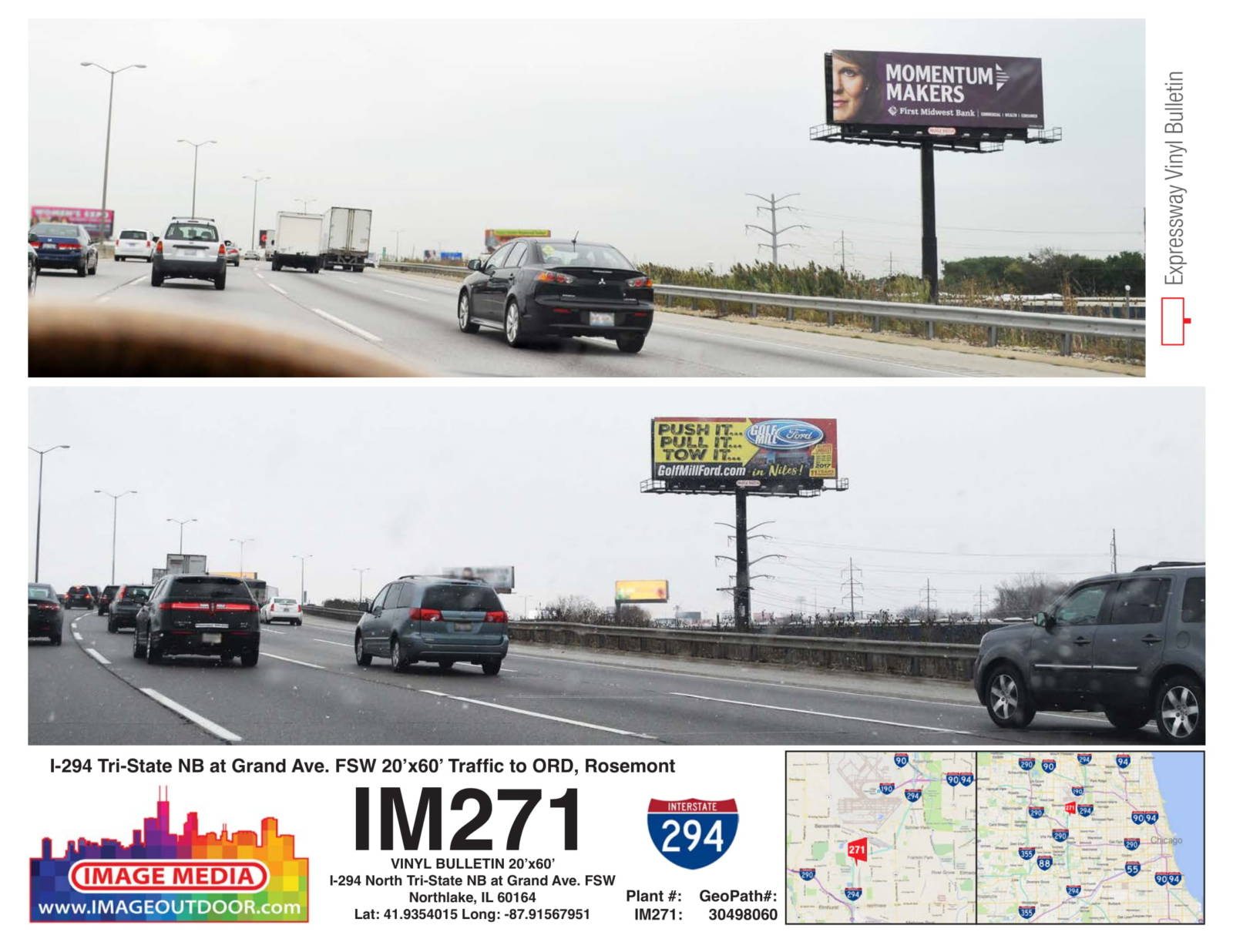 IM271 - bulletin on I-294 northbound at Grand Ave.
