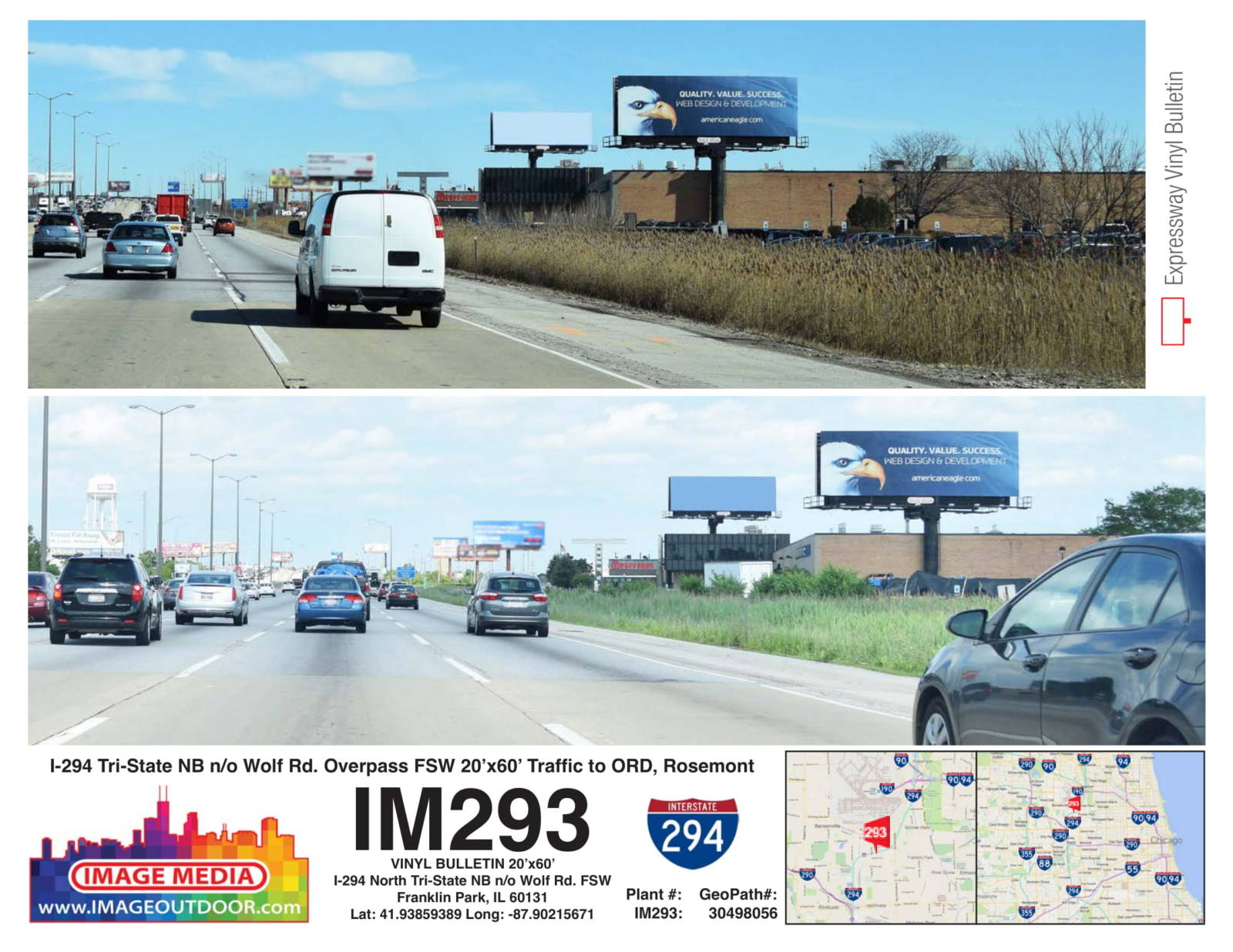 IM293 - bulletin on I-294 northbound north of Wolf Rd.