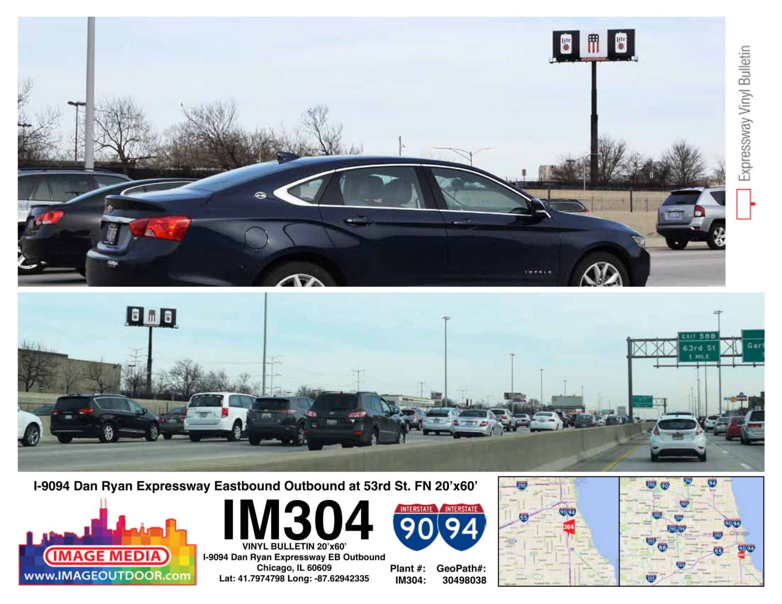 IM304 - bulletin on I90/94 Dan Ryan east/outbound at 53rd Rst.