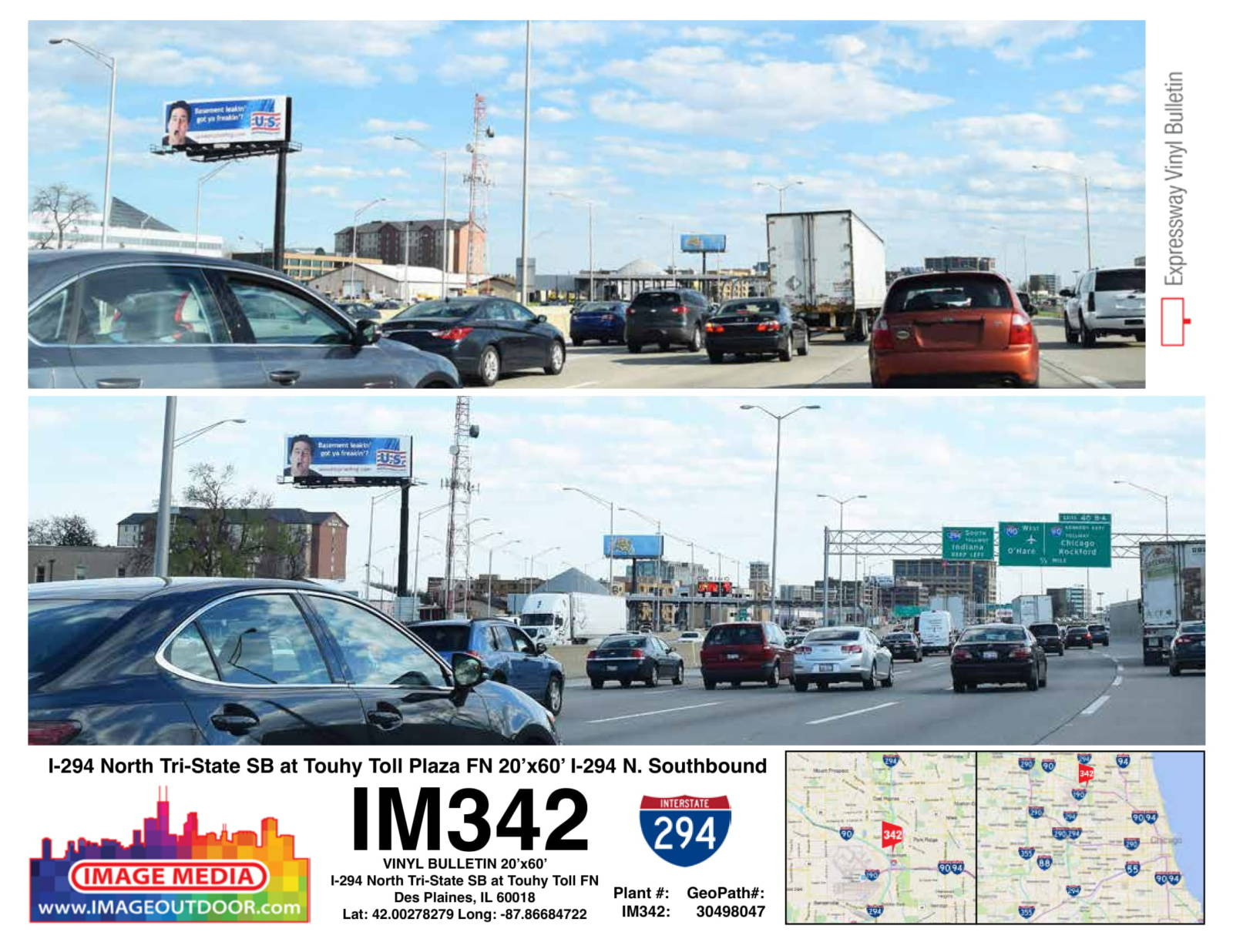 IM342 - bulletin on I-294 southboung at Touhy toll plaza.