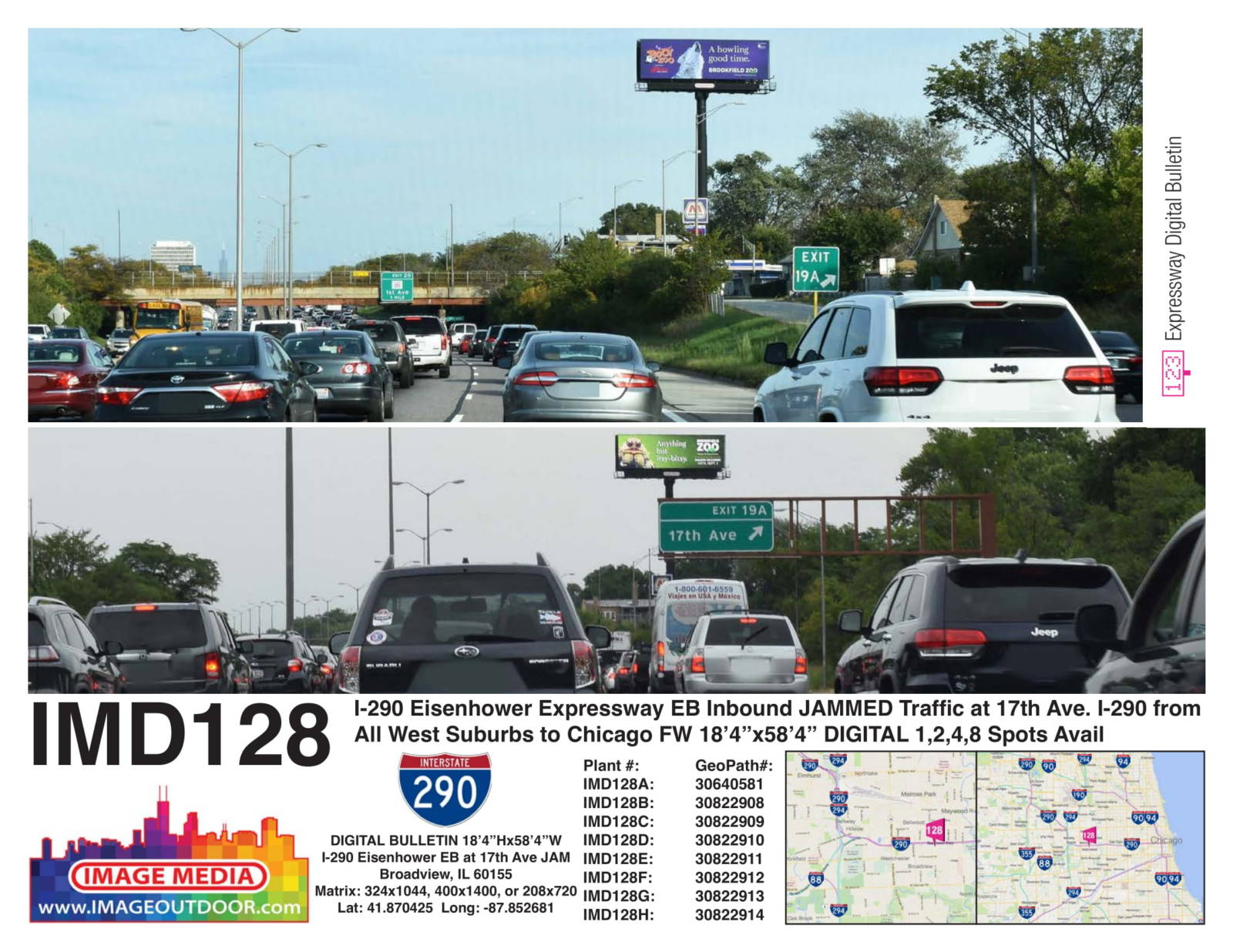 IMD128 - digital bulletin on I-290 eastbound inbound at 17th Ave.