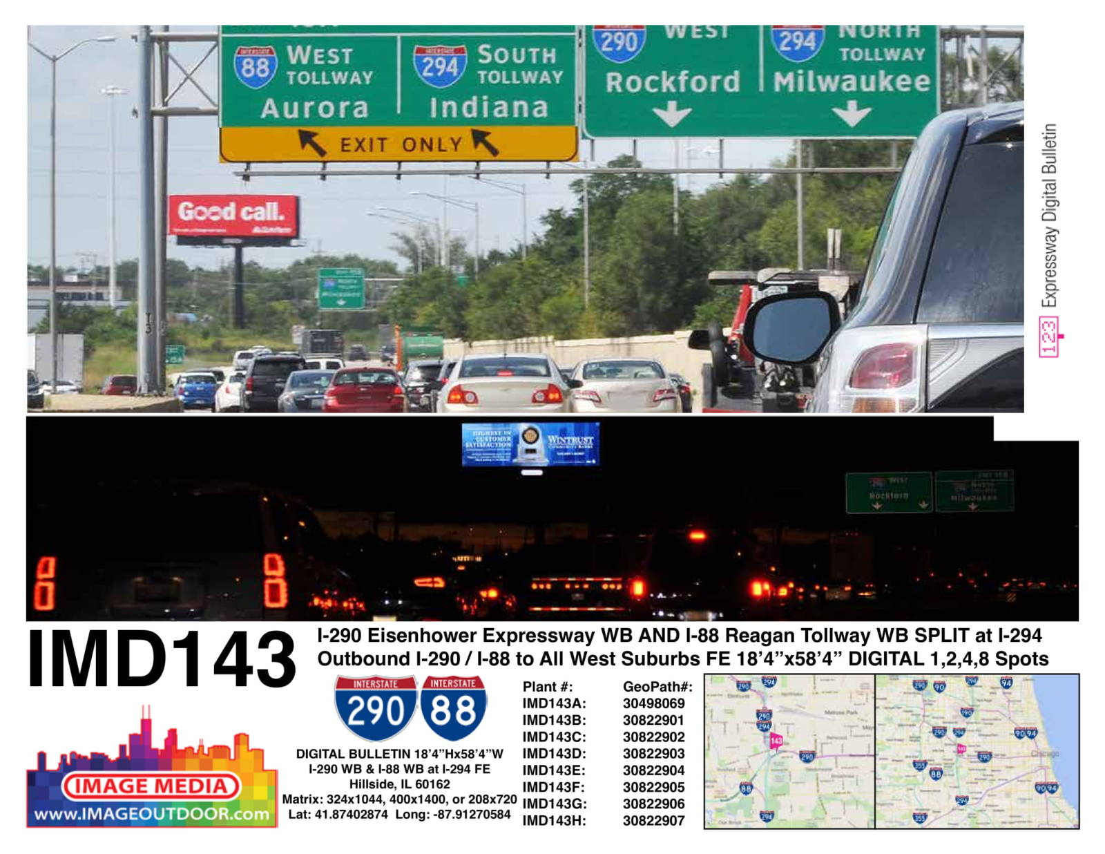 IMD143 - billboard at I-290 Eisenhower westbound and I-88 Reagan tollway westbound split