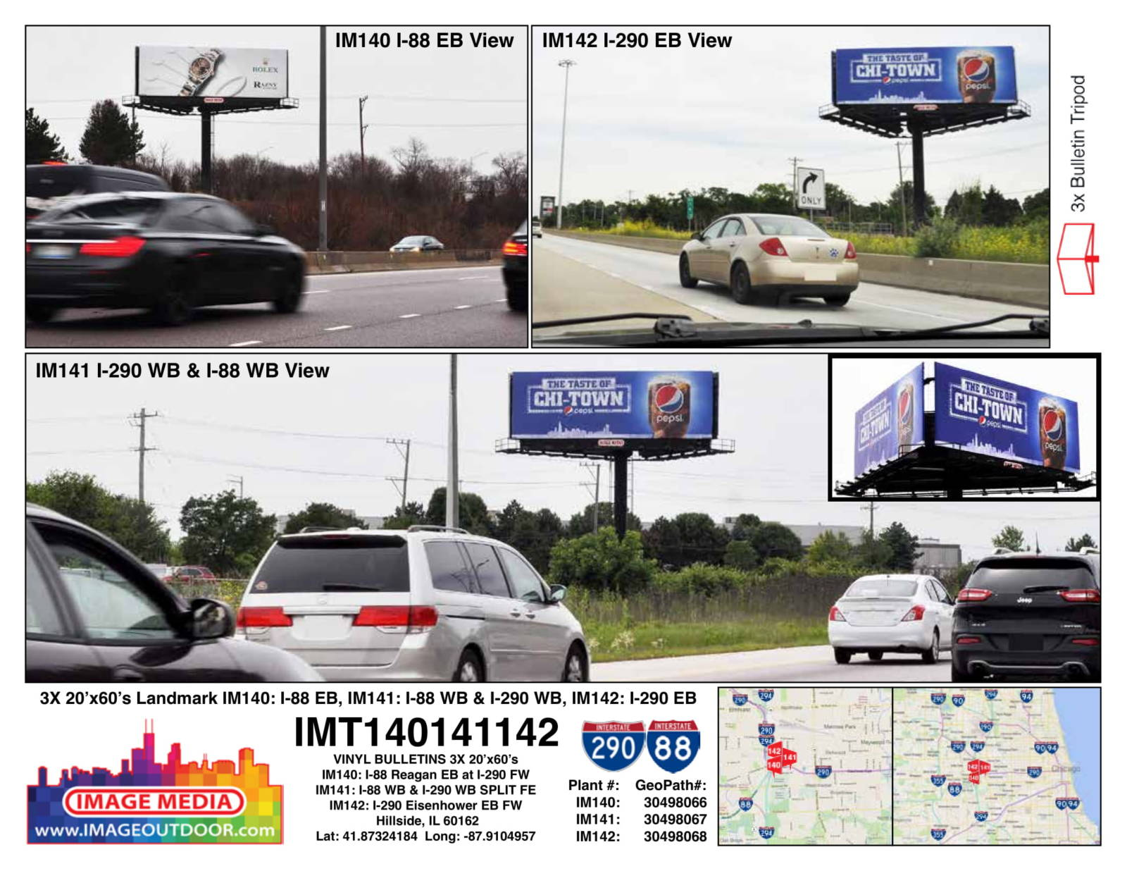 IMT140141142 - bulletin on I-88 east and westbound along with I-290 westbound.