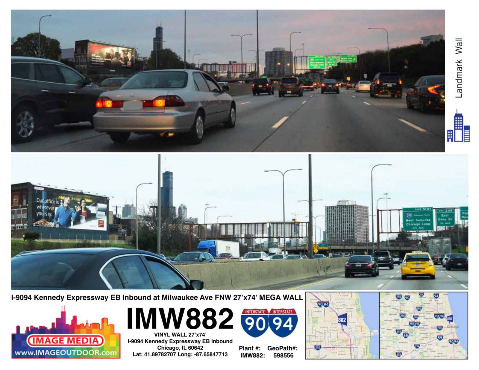 IMW882 - billboard on I90/94 eastbound at Milwaukee Ave.